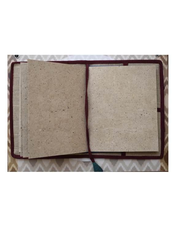 Hand embroidered diary sleeve with journal - STJ07-3