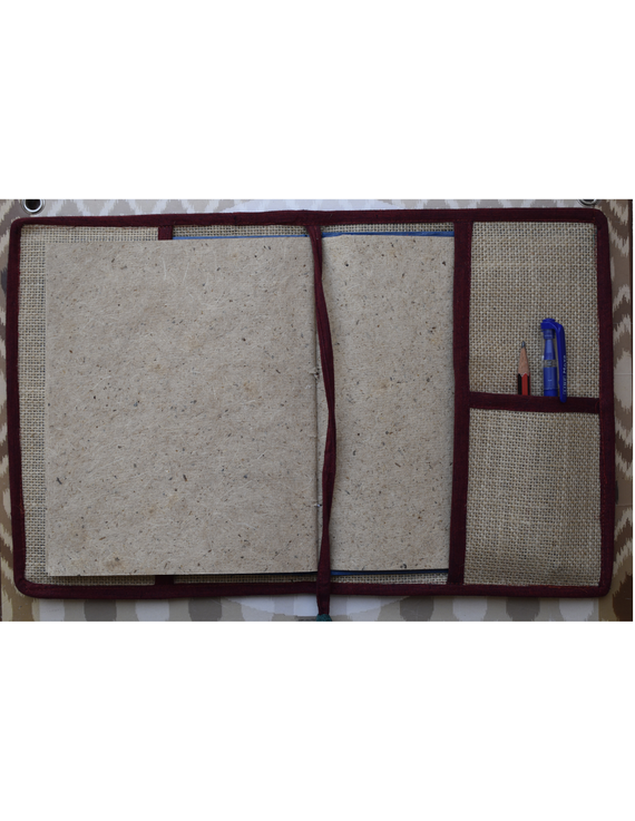 Hand embroidered diary sleeve with journal - STJ07-4
