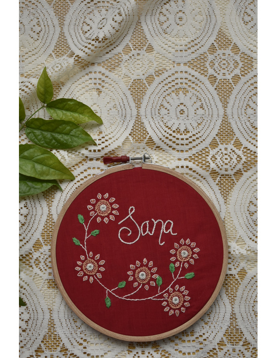 Customised embroidery hoop wall hanging in red cotton: HEH02-HEHg03
