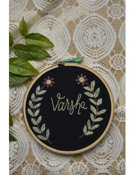 Customised embroidery hoop wall hanging in black cotton: HEH04-HEHg04-sm