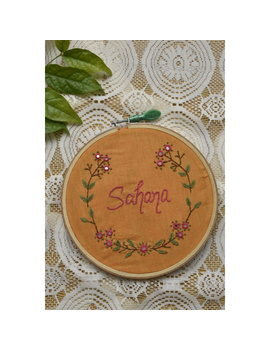 Customised embroidery hoop wall hanging in Yellow cotton: HEH03-1-sm
