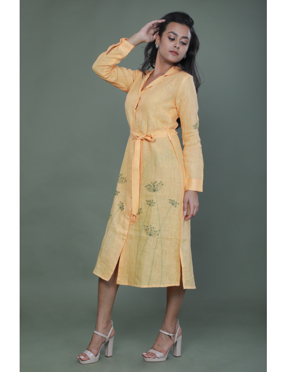 'Bloom' hand embroidered pure linen dress in yellow:LD690B-M-3