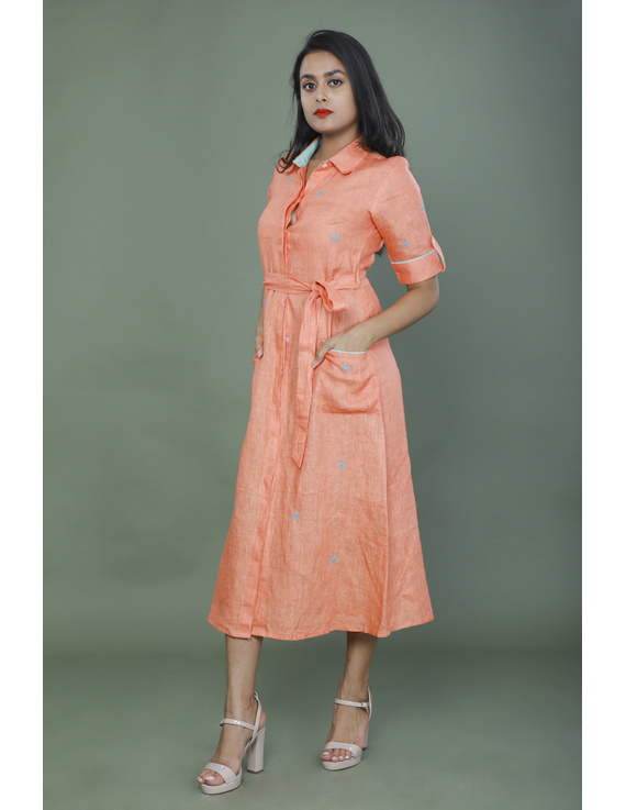 Peach linen hand embroidered dress with a collar: LD700B-LD700B-S1