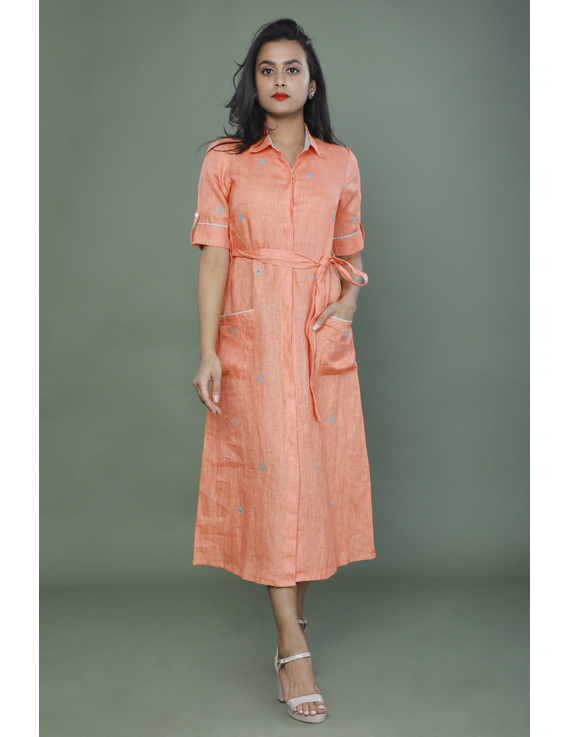 Peach linen hand embroidered dress with a collar: LD700B-S-1