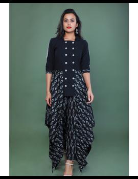 BLACK IKAT AND MANGALAGIRI COTTON DRESS WITH MATCHING PANTS : LD510A-XL-1-sm