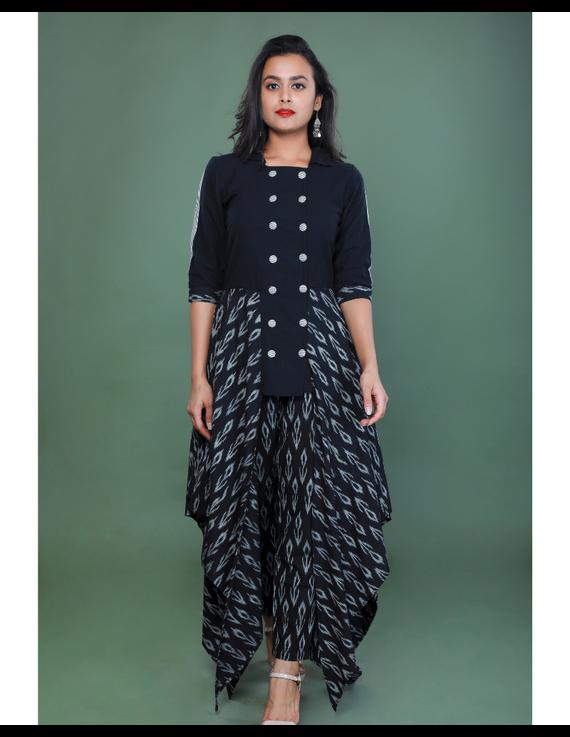 BLACK IKAT AND MANGALAGIRI COTTON DRESS WITH MATCHING PANTS : LD510A-XL-1