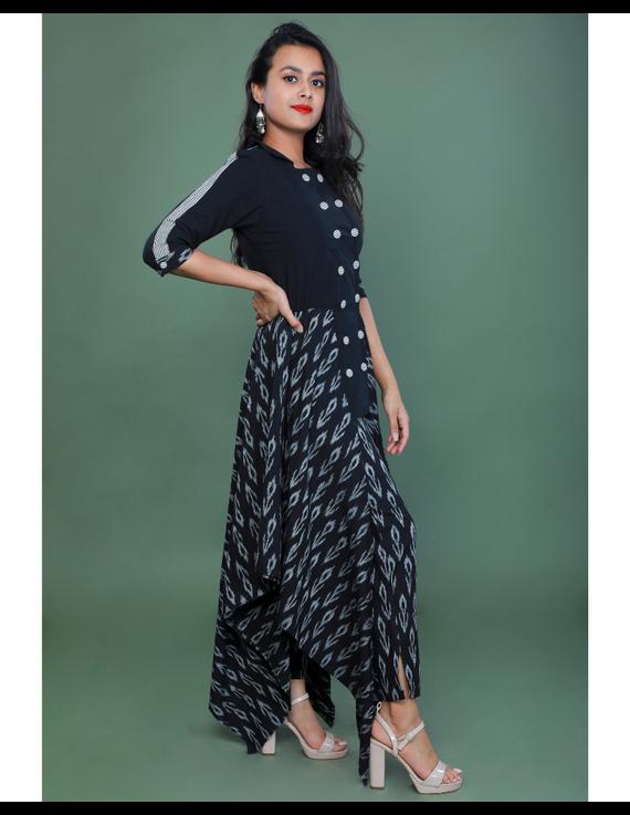 BLACK IKAT AND MANGALAGIRI COTTON DRESS WITH MATCHING PANTS : LD510A-LD510A-XL