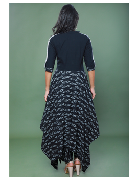 BLACK IKAT AND MANGALAGIRI COTTON DRESS WITH MATCHING PANTS : LD510A-XL-2-sm