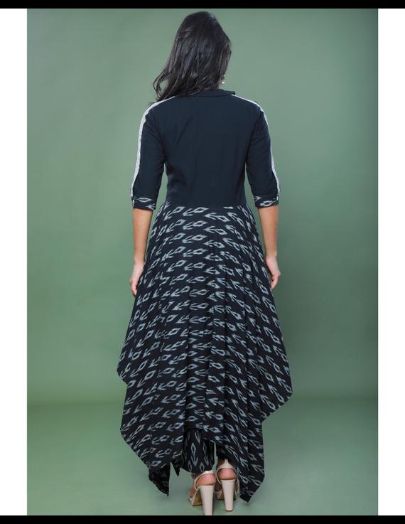BLACK IKAT AND MANGALAGIRI COTTON DRESS WITH MATCHING PANTS : LD510A-XL-2