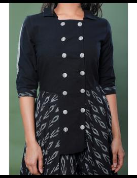 BLACK IKAT AND MANGALAGIRI COTTON DRESS WITH MATCHING PANTS : LD510A-XL-3-sm