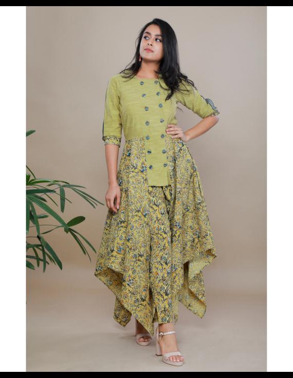MUSTARD KALAMKARI AND MANGALAGIRI COTTON DRESS WITH MATCHING PANTS : LD510B-S-1
