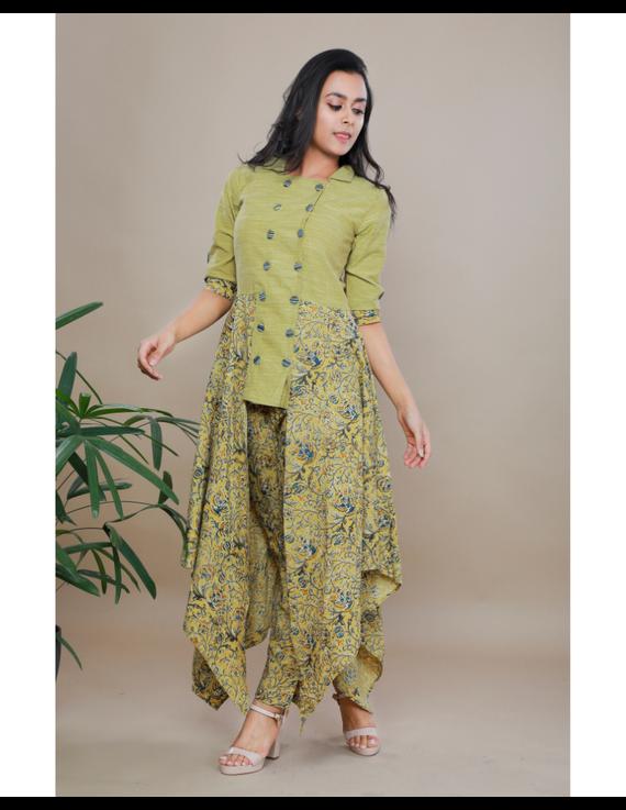 MUSTARD KALAMKARI AND MANGALAGIRI COTTON DRESS WITH MATCHING PANTS : LD510B-LD510B-SA-S