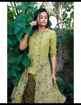 MUSTARD KALAMKARI AND MANGALAGIRI COTTON DRESS WITH MATCHING PANTS : LD510B-S-2-sm