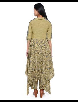 MUSTARD KALAMKARI AND MANGALAGIRI COTTON DRESS WITH MATCHING PANTS : LD510B-S-3-sm