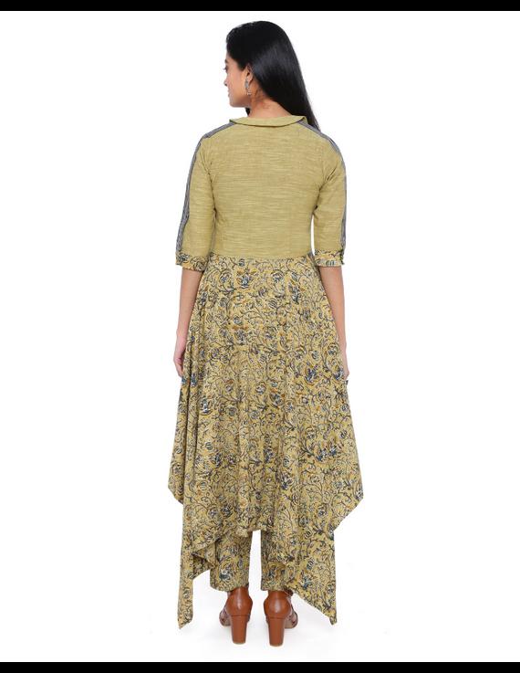 MUSTARD KALAMKARI AND MANGALAGIRI COTTON DRESS WITH MATCHING PANTS : LD510B-S-3