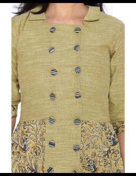MUSTARD KALAMKARI AND MANGALAGIRI COTTON DRESS WITH MATCHING PANTS : LD510B-S-4-sm