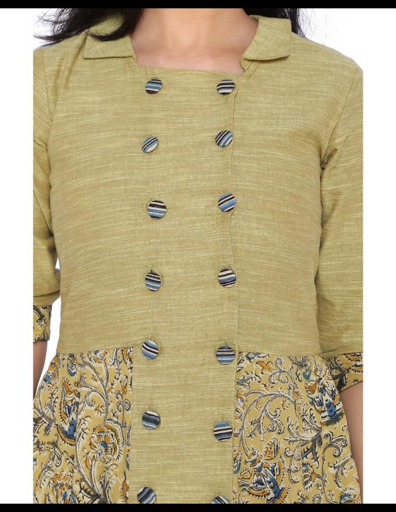 MUSTARD KALAMKARI AND MANGALAGIRI COTTON DRESS WITH MATCHING PANTS : LD510B-S-4