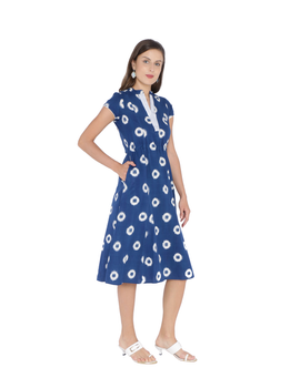 BLUE A LINE DRESS IN DOUBLE IKAT : LD350A-L-2-sm