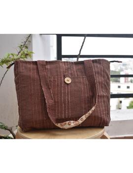 Brown cotton embroidered tote bag : TBC03-TBC03-sm
