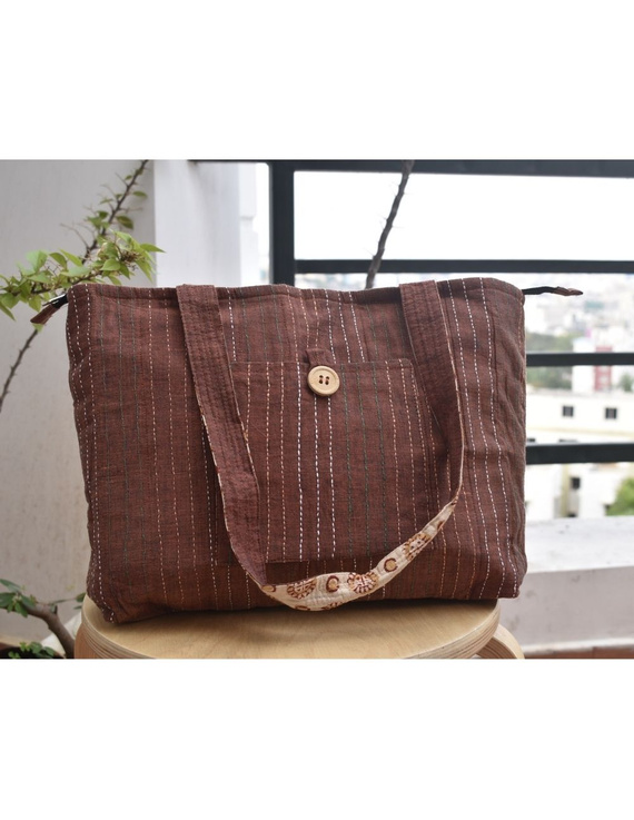 Brown cotton embroidered tote bag : TBC03-TBC03