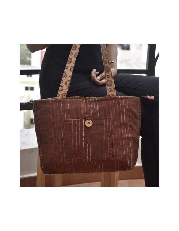 Brown cotton embroidered tote bag : TBC03-3