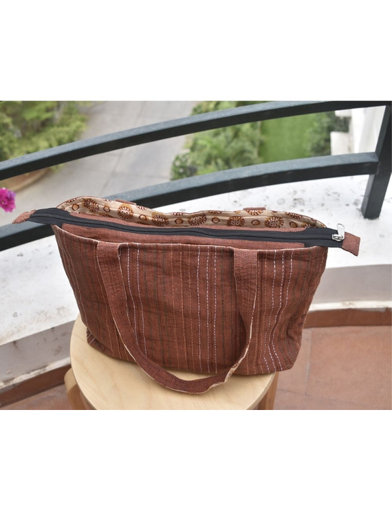 Brown cotton embroidered tote bag : TBC03-2