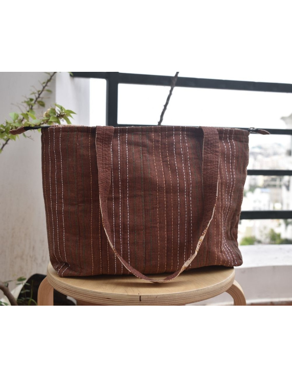 Brown cotton embroidered tote bag : TBC03-1