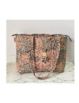 Brown and grey kalamkari tote bag : TBC05-TBC05-sm