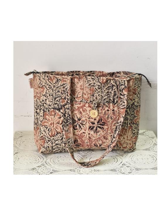Brown and grey kalamkari tote bag : TBC05-TBC05