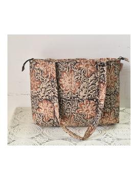 Brown and grey kalamkari tote bag : TBC05-1-sm