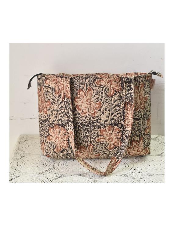 Brown and grey kalamkari tote bag : TBC05-1