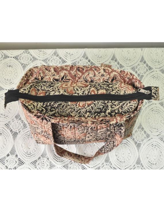 Brown and grey kalamkari tote bag : TBC05-2
