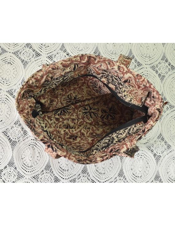 Brown and grey kalamkari tote bag : TBC05-3