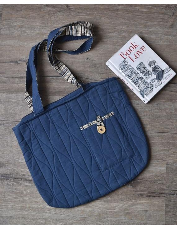 Indigo blue quilted flat bag : TBI05-TBI05