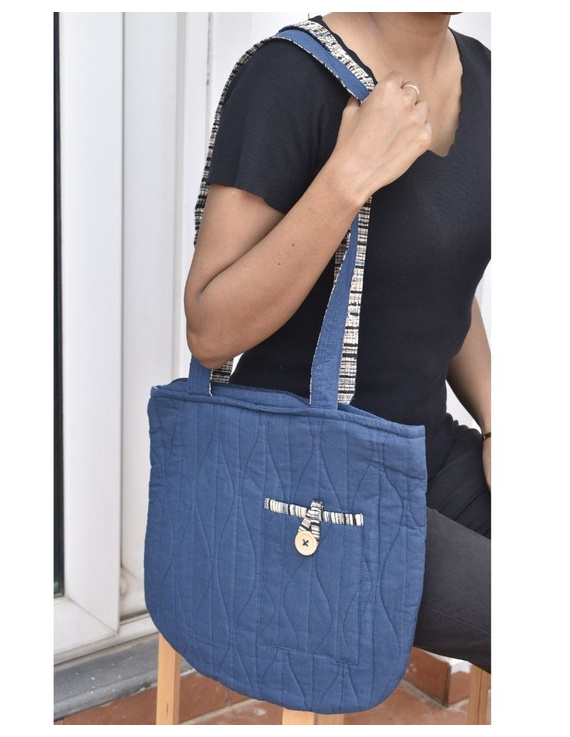 Indigo blue quilted flat bag : TBI05-2