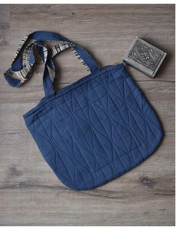 Indigo blue quilted flat bag : TBI05-1