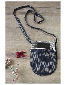 Multi-pocket sling bag in blue ikat cotton: CPI01B-CPI01B-sm