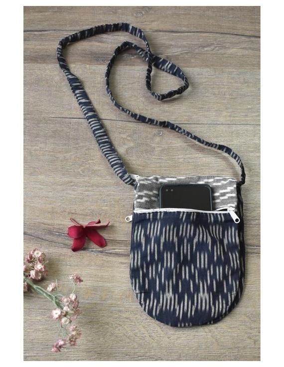 Multi-pocket sling bag in blue ikat cotton: CPI01B-CPI01B
