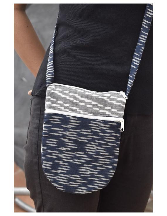 Multi-pocket sling bag in blue ikat cotton: CPI01B-1