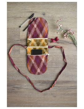 Multi-pocket sling bag in pink ikat cotton: CPI01C-CPI01C-sm
