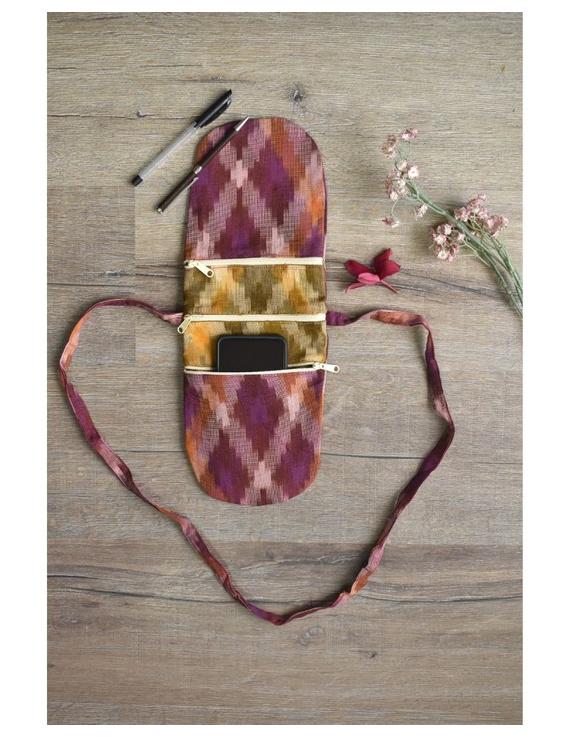 Multi-pocket sling bag in pink ikat cotton: CPI01C-CPI01C