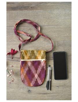 Multi-pocket sling bag in pink ikat cotton: CPI01C-1-sm