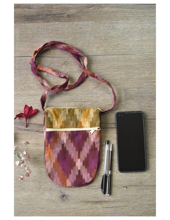 Multi-pocket sling bag in pink ikat cotton: CPI01C-1