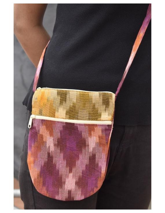 Multi-pocket sling bag in pink ikat cotton: CPI01C-2