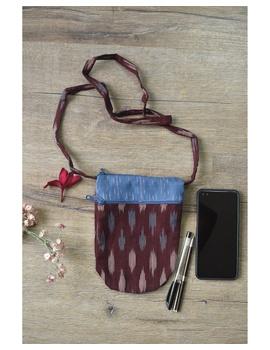 Multi-pocket sling bag in maroon ikat cotton: CPI01D-CPI01D-sm