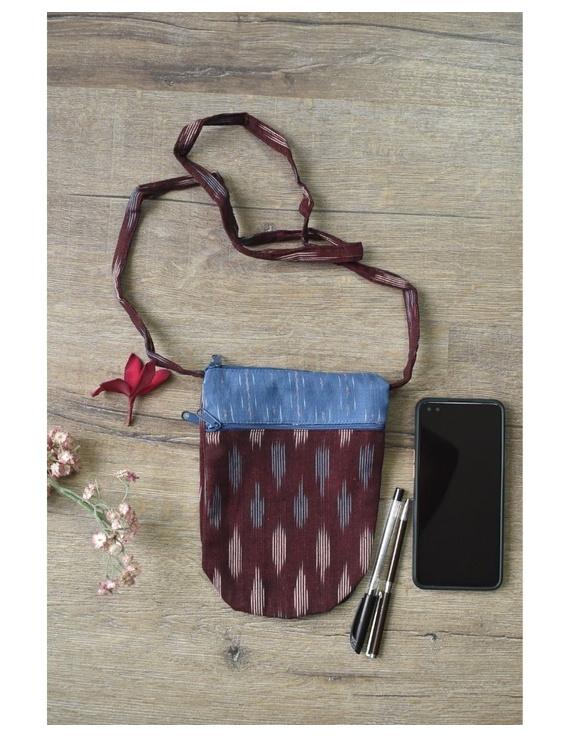 Multi-pocket sling bag in maroon ikat cotton: CPI01D-CPI01D