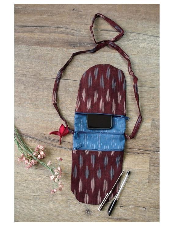 Multi-pocket sling bag in maroon ikat cotton: CPI01D-1