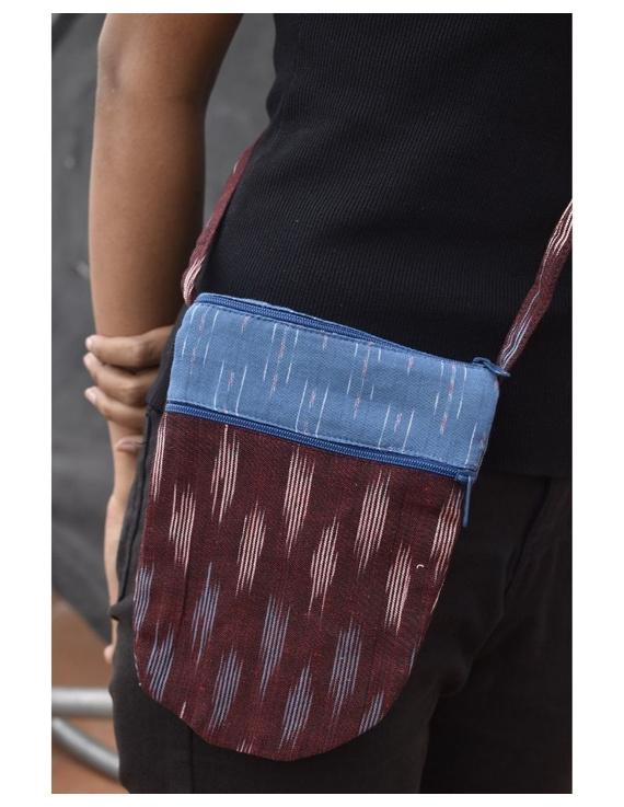 Multi-pocket sling bag in maroon ikat cotton: CPI01D-2
