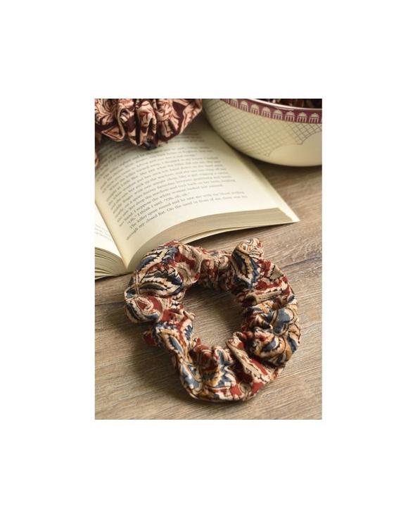 Kalamakari Scrunchies - pack of two - orange and blue  : WAK01B-3