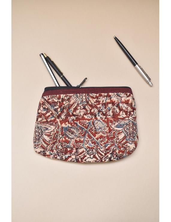 Red kalamkari pencil pouch : PPK03-PPK03